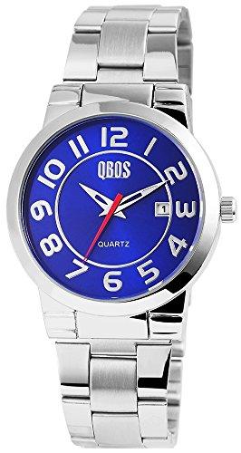 QBOS Herren mit Quarzwerk RP3122250008 Metallgehaeuse mit Edelstahl Armband in Silberfarbig und Faltschliesse Ziffernblattfarbe Blau Bandgesamtlaenge 20 cm Armbandbreite 22 mm