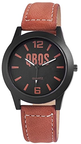 QBOS Herren mit Quarzwerk RP3117140014 Metallgehaeuse mit Kunstleder Armband in Braun und Dornschliesse Ziffernblattfarbe Schwarz Bandgesamtlaenge 23 cm Armbandbreite 20 mm