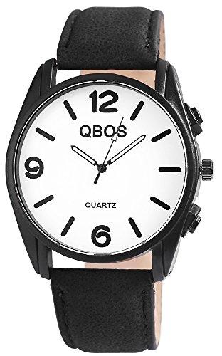 QBOS Herren mit Quarzwerk RP3117200006 Metallgehaeuse mit Kunstleder Armband in Schwarz und Dornschliesse Ziffernblattfarbe Weiss Bandgesamtlaenge 23 cm Armbandbreite 24 mm