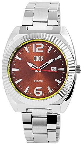QBOS Herren mit Quarzwerk RP3122740003 Metallgehaeuse mit Edelstahl Armband in Silberfarbig und Faltschliesse Ziffernblattfarbe Braun Bandgesamtlaenge 19 cm Armbandbreite 22 mm
