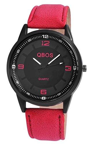 QBOS Herren mit Quarzwerk RP3117140009 Metallgehaeuse mit Kunstleder Armband in Rot und Dornschliesse Ziffernblattfarbe Schwarz Bandgesamtlaenge 23 cm Armbandbreite 22 mm