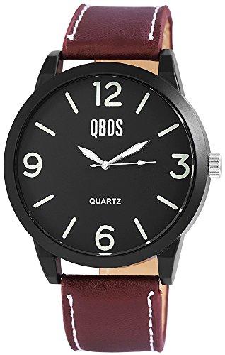 QBOS Herren mit Quarzwerk RP3167110001 Metallgehaeuse mit Kunstleder Armband in Dunkelbraun und Dornschliesse Ziffernblattfarbe Schwarz Bandgesamtlaenge 24 cm Armbandbreite 24 mm