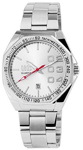 QBOS Herren mit Quarzwerk RP3122200007 Metallgehaeuse mit Edelstahl Armband in Silberfarbig und Faltschliesse Ziffernblattfarbe Silber Bandgesamtlaenge 19 cm Armbandbreite 22 mm