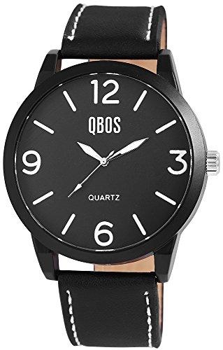 QBOS Herren mit Quarzwerk RP3167100001 Metallgehaeuse mit Kunstleder Armband in Schwarz und Dornschliesse Ziffernblattfarbe Schwarz Bandgesamtlaenge 24 cm Armbandbreite 24 mm
