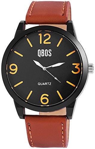 QBOS Herren mit Quarzwerk RP3167120001 Metallgehaeuse mit Kunstleder Armband in Braun und Dornschliesse Ziffernblattfarbe Schwarz Bandgesamtlaenge 24 cm Armbandbreite 24 mm