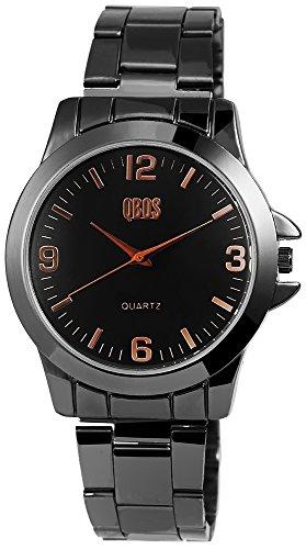 QBOS Herren mit Quarzwerk RP3157100001 Metallgehaeuse mit Edelstahl Armband in Schwarz und Faltschliesse Ziffernblattfarbe Schwarz Bandgesamtlaenge 19 cm Armbandbreite 20 mm