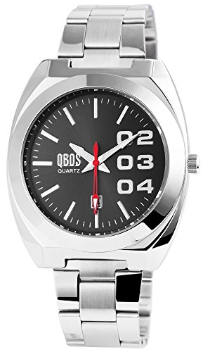 QBOS Herren mit Quarzwerk RP3121000006 Metallgehaeuse mit Edelstahl Armband in Silberfarbig und Faltschliesse Ziffernblattfarbe Anthrazit Bandgesamtlaenge 19 cm Armbandbreite 22 mm