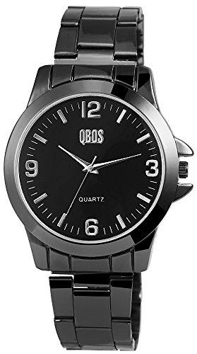 QBOS Herren mit Quarzwerk RP3157120001 Metallgehaeuse mit Edelstahl Armband in Schwarz und Faltschliesse Ziffernblattfarbe Schwarz Bandgesamtlaenge 19 cm Armbandbreite 20 mm