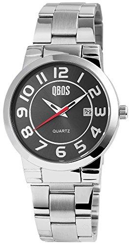 QBOS Herren mit Quarzwerk RP3122100008 Metallgehaeuse mit Edelstahl Armband in Silberfarbig und Faltschliesse Ziffernblattfarbe Anthrazit Bandgesamtlaenge 20 cm Armbandbreite 22 mm