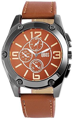 QBOS Herren mit Quarzwerk Chronolook RP3167110002 Metallgehaeuse mit Kunstleder Armband in Braun und Dornschliesse Ziffernblattfarbe Schwarz Bandlaenge 25 cm Armbandbreite 24 mm