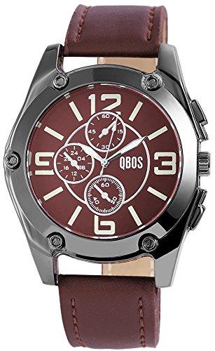 QBOS Herren mit Quarzwerk Chronolook RP3167120002 Metallgehaeuse mit Kunstleder Armband in Dunkelbraun und Dornschliesse Ziffernblattfarbe Schwarz Bandlaenge 25 cm Armbandbreite 24 mm