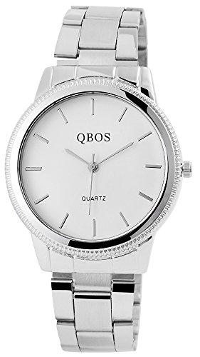 QBOS Herren mit Quarzwerk RP3812200001 und Hochwertiges Edelstahl Armband in Silberfarbig mit Faltschliesse Ziffernblattfarbe Weiss Bandgesamtlaenge 18 cm Armbandbreite 20 mm