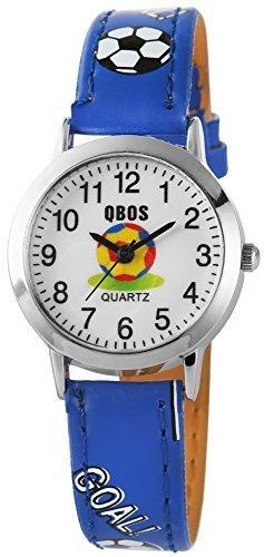 QBOS Analog Armbanduhr fuer Kinder und Jugendliche mit Quarzwerk RP4822300005 Metallgehaeuse mit Kunstlederarmband Blau und Dornschliesse Ziffernblatt Weiss Bandgesamtlaenge 20cm Bandbreite 14mm