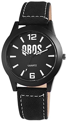 QBOS schwarze 41mm Men Watch analoge Quartz Armbanduhr PU Leder