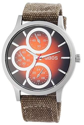 QBOS Herrenuhr Textil Armbanduhr Ø 49mm Braun Olivgruen - RP4972600001