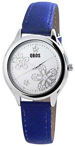 Zierliche Qbos Women Watch modische Pu Leder blau