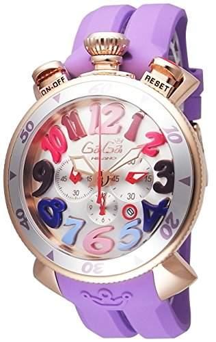 GaGa Milano Damen-Armbanduhr 48mm Armband Kautschuk Gehaeuse Gold beschichtetes Edelstahl Batterie 60569