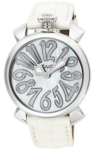 GaGa Milano Damen Armbanduhr 40mm Armband Leder Weiss Gehaeuse Edelstahl Saphirglas Batterie Analog 5020 8