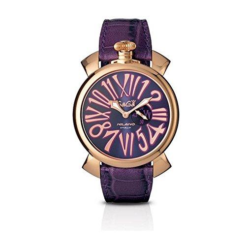 GaGa Milano Slim Herren Armbanduhr 46mm Armband Leder Rosa Batterie Analog 5085 03