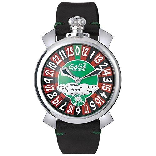 GaGa Milano Lasvegas Herren Armbanduhr 48mm Armband Leder Gehaeuse Edelstahl Handaufzug Analog 5010 LV 01S