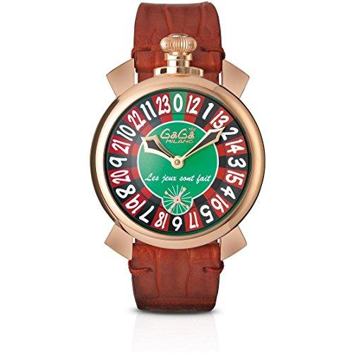 GaGa Milano Las Vegas Roulette Herren Armbanduhr 48mm Armband Leder Braun Handaufzug Analog 5011 LV 01S