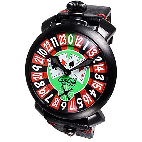 GaGa Milano Las Vegas Roulette Herren Armbanduhr 48mm Armband Leder Schwarz Handaufzug Analog 5012 LV 01S