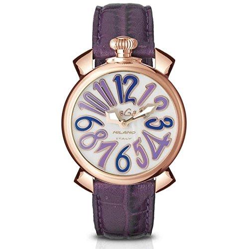 GaGa Milano Manuale Unisex Armbanduhr 40mm Armband Leder Rosa Batterie Zifferblatt Perlmutt Analog 5021 4