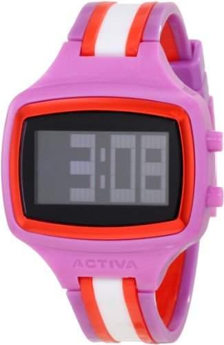 Activa Giotto 40 Unisex-Armbanduhr 0mm Armband Plastik Rosa Lila + Gehaeuse Batterie Digital AA401-013