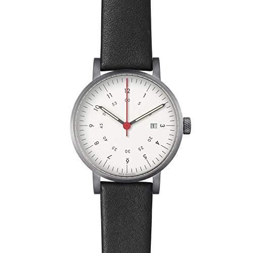 V03D Date Analog Watch with date Style: Gebuerstetes Gehaeuse & weisses Zifferblatt  Leder-Armband Schwarz