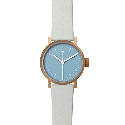 V03P Petite Small Analog Watch by VOID Watches Style: Kupfer Gehaeuse & blaues Zifferblatt  Leder-Armband Grau