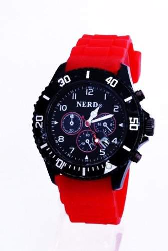 Originale Nerd® Chrono Silikonuhr Rot D85