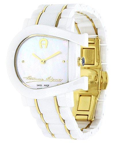 Aigner Damen Uhr Armbanduhr Genua Due weiss Keramik gold A31642