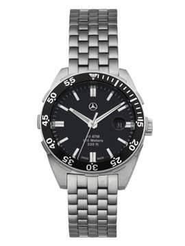 Armbanduhr, Herren Edelstahl, silber  schwarz