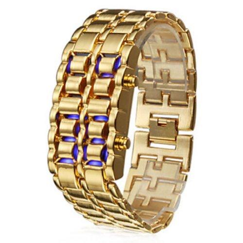 Soleasy 8 LED Blaulicht stellige Edelstahl Armband Armbanduhr Gold WTH0353