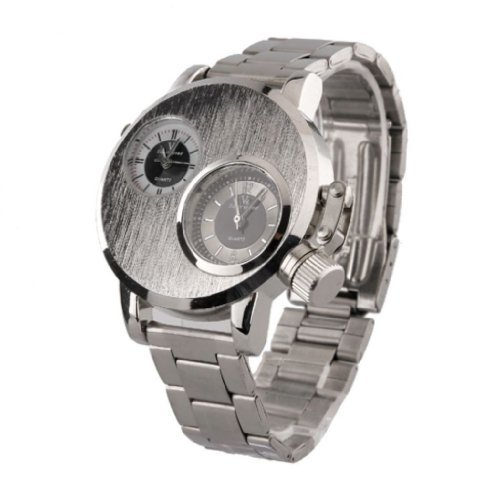 Soleasy Dual PC Bewegung Dual schwarzem Zifferblatt Silber Fall Schwarz Legierung Band Armbanduhr WTH0356 2 Zeitzone