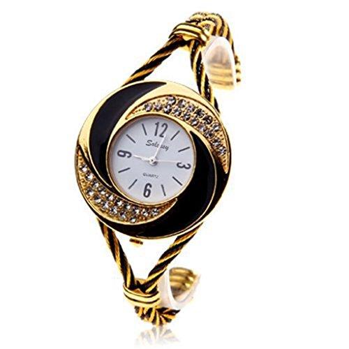 Soleasy New Fashion Damen Armband Armbanduhr Quarz Gold Schwarz Wth0204