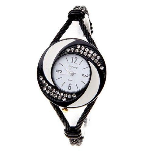 Soleasy neue Art und Weise der Frauen Armband Armbanduhr Quarz Black White WTH0205