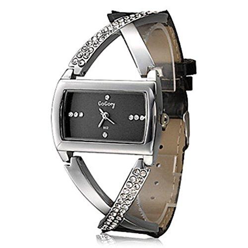 Soleasy Frauen Quarzuhr Modische Querart Diamante PU Band analoge Armbanduhr WTH0822