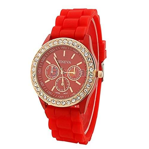 Soleasy Damen Frauen Maedchen Genf Silikon Quarz Golden Crystal Stone Jelly Wrist Watch-rot WTH0719