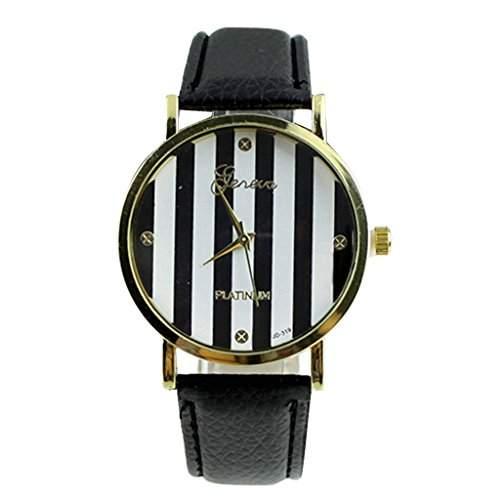 Soleasy Frauen Maenner klassische Genf Streifen Print Leatheroid Analog Quarz Handgelenk Uhren-schwarz WTH0727