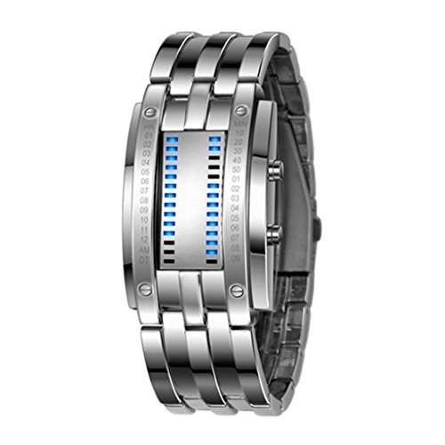 Soleasy Hot Low Price LED elektronische Maenner Frauen Edelstahl blau binaere fuehrte Displayer Sport Armbanduhr WTH0741