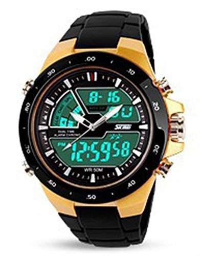 Soleasy 2014 New SKMEI Marken-Maenner Gold Quality Militaer Sport Quarz Multifunktions-Armbanduhr Led Digitaluhr WTH0750