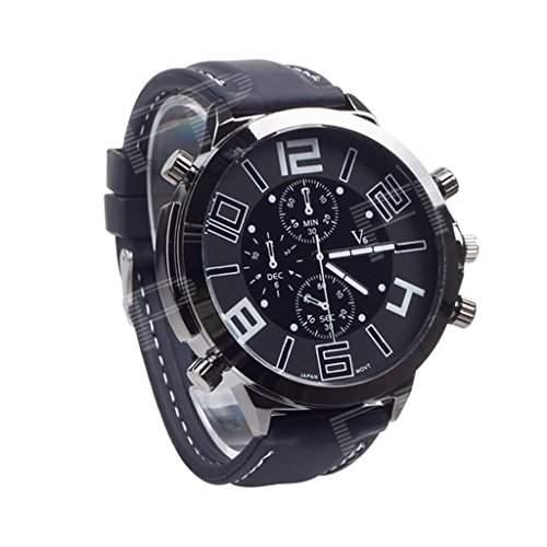 Soleasy V6 Super Speed V0155 Herren Silikon-Band-analoge Quarz-Armbanduhr - Schwarz + Wei? WTH0753