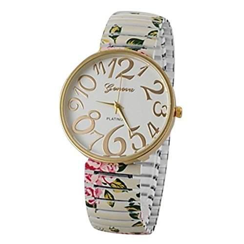 Soleasy Frauen Fashion Style Einfache Ziffer elastische Blumen-Band Quarz-Armbanduhr weiss WTH0850