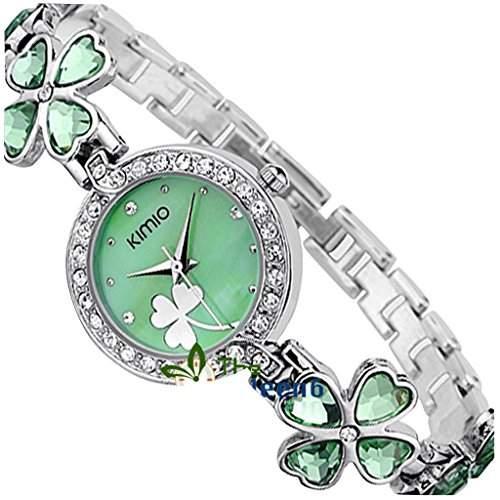 Soleasy New 2014 Fashion Damen Marke Kimio Edelstahl Armband Luxus Lady Armbanduhr-gruen 4001