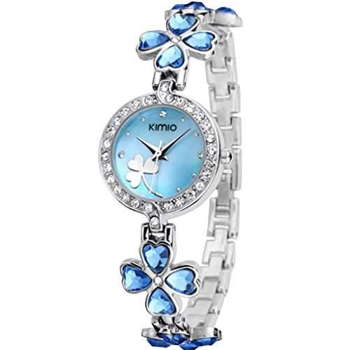 Soleasy New 2014 Fashion Damen Marke Kimio Edelstahl-Buegel Luxuxdame Armbanduhren K456L-Blau WTH4002