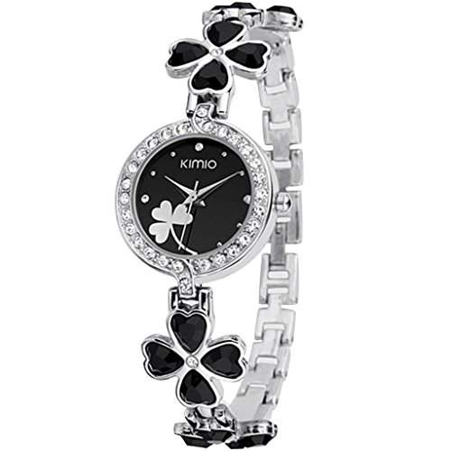 Soleasy New 2014 Fashion Damen Marke Kimio Edelstahl-Buegel-Armbanduhr-Luxus Lady-Black WTH4003