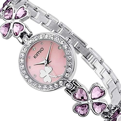 Soleasy New 2014 Fashion Damen Marke Kimio Edelstahl Armband Luxus Lady Armbanduhr-Rosa WTH4004