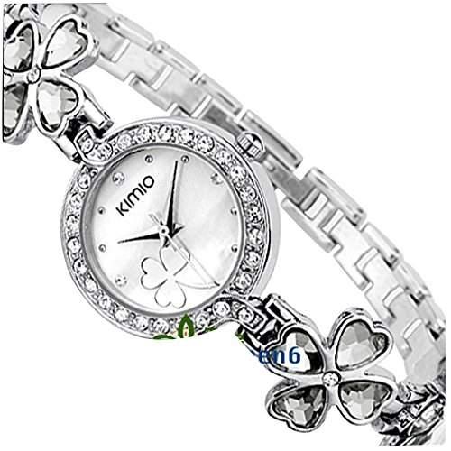 Soleasy New 2014 Fashion Damen Marke Kimio Edelstahl Armband Luxus Lady Armbanduhr-Wei? WTH4005