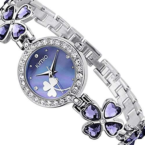 Soleasy New 2014 Fashion Damen Marke Kimio Edelstahl-Buegel Luxuxdame Armbanduhren-Lila WTH4006